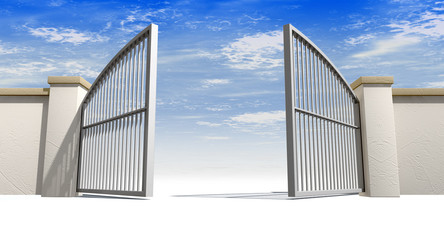Раскрывающиеся ворота.